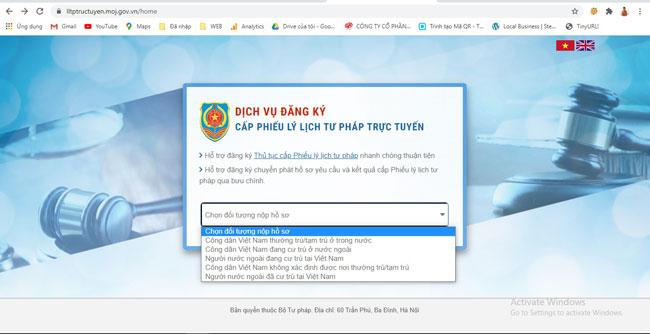 Đối tượng nộp hồ sơ lý lịch tư pháp online